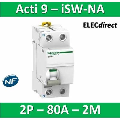 Schneider - Interrupteur-sectionneur bipolaire 80A à déclenchement - Acti9 - ISW-NA - A9S70680