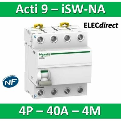 Schneider - Interrupteur-sectionneur 40A à déclenchement Tétrapolaire - Acti9 - ISW-NA - A9S70740