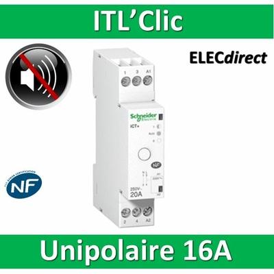 Schneider - ACTI 9 ITL Télérupteur silencieux - Unipolaire - 16A 1NO - A9C15032