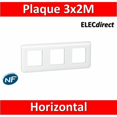 Legrand Mosaic - Plaque 3 x 2 modules - 3 postes (6M) - horizontal - 078806