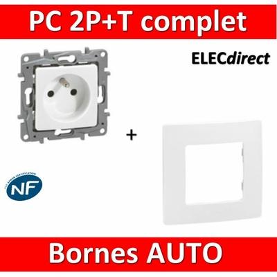 Legrand Niloé - Prise de courant 2P+T 16A + plaque - Blanc 664735+665001