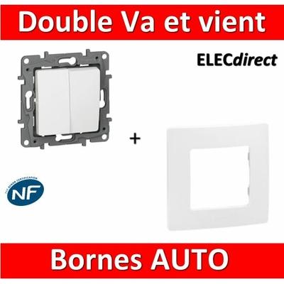 Legrand Niloé - Double Va et Vient 10A Blanc + plaque - 664702+665001
