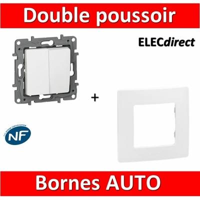 Legrand Niloé - Double poussoir Blanc + plaque - 664708+665001