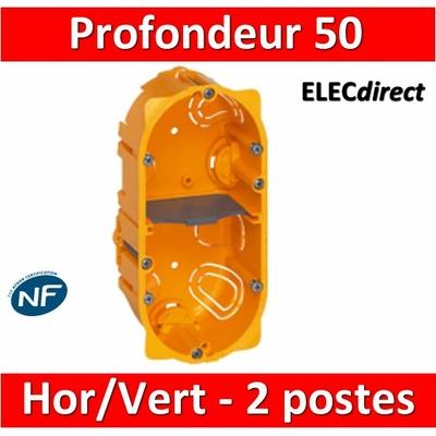 Legrand Batibox - Boîte d'encastrement 2 postes - Prof. 50 - 080052