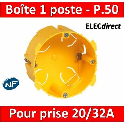 Legrand Batibox - Boîte d'encastrement 1 poste pour prise 20 et 32A - Prof. 50 - 089358