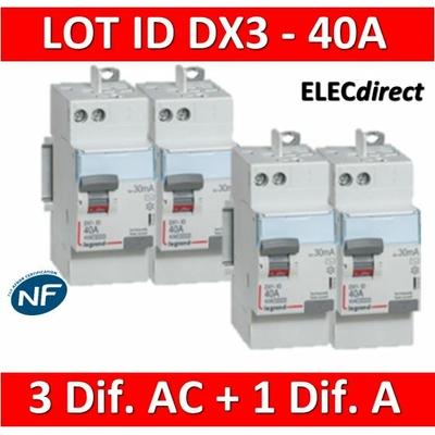 LEGRAND - LOT de 4 inter différentiels DX3 - AUTO - (3 - ID 2x40A 30mA AC - ID 2x40A 30mA A) 411632x3 + 411638
