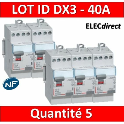 LEGRAND - LOT de 5 inter différentiels DX3 - ID 2x40A - 30mA AC - 411611