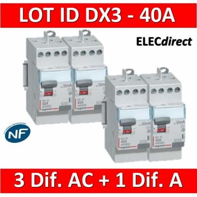 LEGRAND - LOT de 4 inter différentiels DX3 - (3 - ID 2x40A 30mA AC - ID 2x40A 30mA A) 411611x3 + 411617