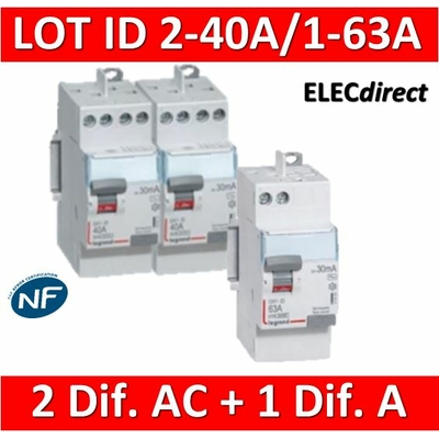 LEGRAND - LOT de 3 inter différentiels DX3 - (2 - ID 2x40A 30mA AC - ID 2x63A 30mA A) 411611x2 + 411651