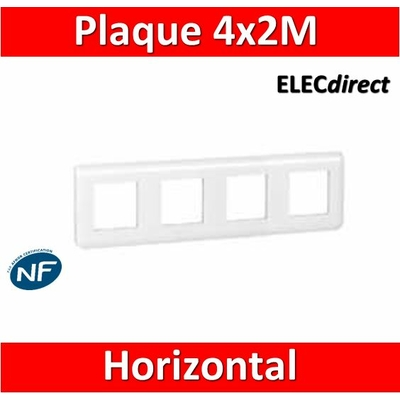 Legrand Mosaic - Plaque 4 x 2 modules - 4 postes (8M) - horizontal - 078808