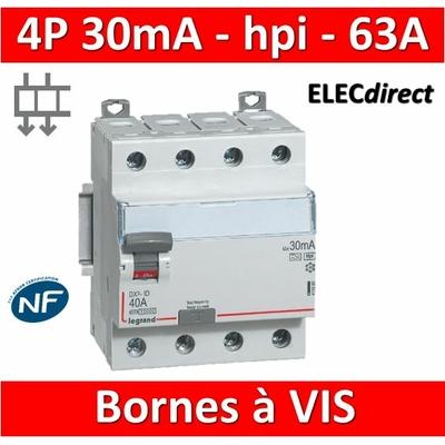 LEGRAND - Interrupteur différentiel DX3-ID 4P 63A - 30mA - HPI - Départ Bas - 4M - 411696