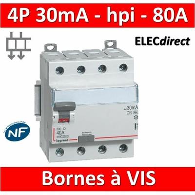 LEGRAND - Interrupteur différentiel DX3-ID 4P 80A - 30mA - HPI - Départ Bas - 4M - 411697