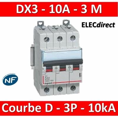 Legrand - Disjoncteur 3P DX3 10A - 10kA - courbe D - 408058