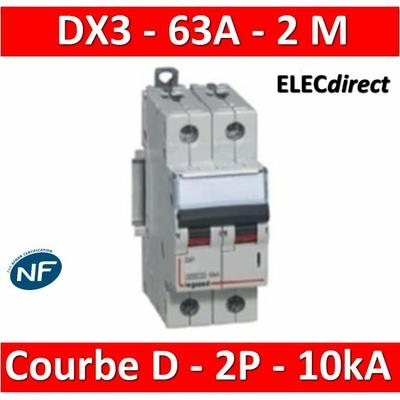 Legrand - Disjoncteur Bipolaire DX3 63A - 10kA - courbe D - 408021