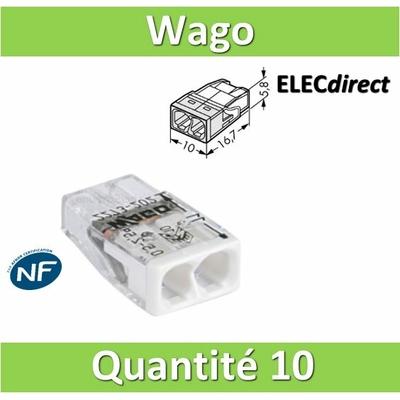 WAGO - Boîte de 10 Bornes auto fils rigide 2 x 2,5mm2 - WAG 2273-202