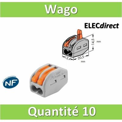 WAGO - Boîte de 10 Bornes auto fils Souple / Rigide 2 x (0.08 à 4mm2) - WAG 222-412