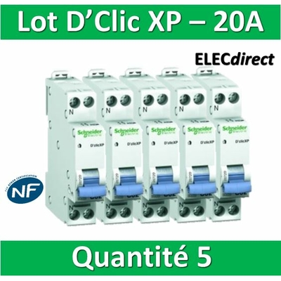SCHNEIDER - LOT DE 5 DISJONCTEURS XP 20A - 20727