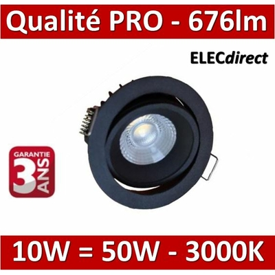 Lited - Spot LED 10W MonoLED Orientable - noir - 3000K - 676lm