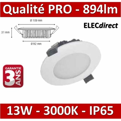 Lited - Spot LED 13W MonoLED - Blanc IP65 -  3000K - 894lm