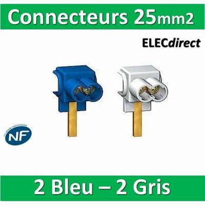 Schneider - Connecteurs 25mm2 (2 bleu + 2 gris) - 14875