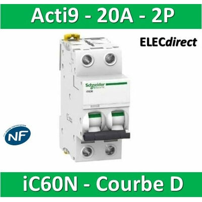 Schneider - Acti9-IC60N Disjoncteur 2P - 20A Courbe D -  A9F75220