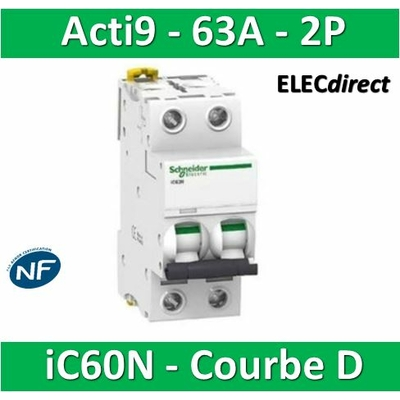 Schneider - Acti9-IC60N Disjoncteur 2P - 63A Courbe D -  A9F75263