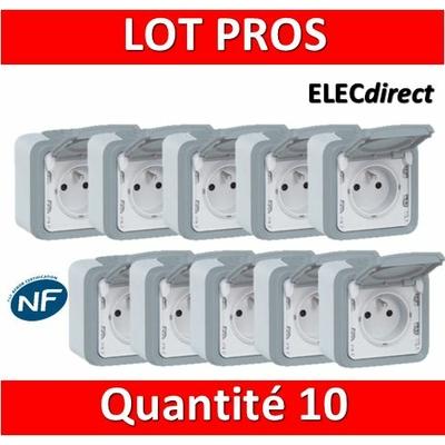 Legrand Plexo - LOT PROS - Prise de courant 2P+T 16A 230V - IP55/IK07 - 069731x10