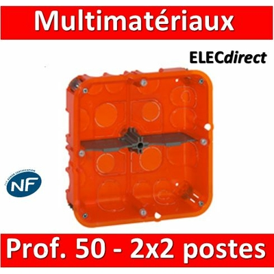 Legrand Batibox - Boîte multimatériaux 2x2 postes - 2x4/5M - profondeur 50 mm  - 080124