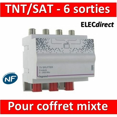 Legrand - Répartiteur TV/TNT/Satellite - 6 sorties pour coffret Mixte - 4 modules - 413013
