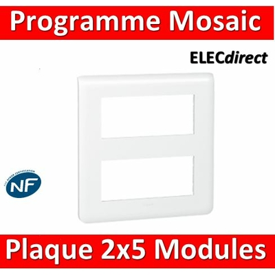Legrand Mosaic - Plaque 2 x 5 modules - Blanc - 078830