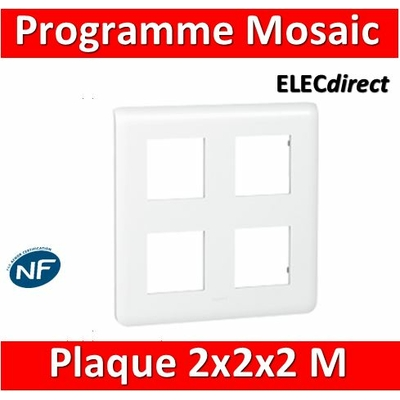 Legrand Mosaic - Plaque 2 x 2 x 2 modules - Blanc - 078838
