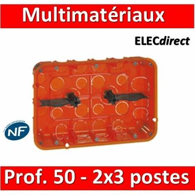 Legrand Batibox - Boîte multimatériaux 2x3 postes - 2x6/8M - profondeur 50 mm  - 080126