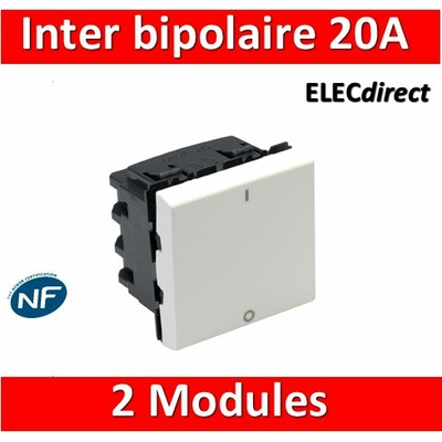 Legrand Mosaic - Interrupteur bipolaire - 2 modules - 16A - 230V - 077050