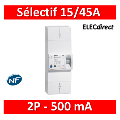 Legrand - Disjoncteur de branchement EDF 15/45A sélectif - 500mA - bipolaire - 401003