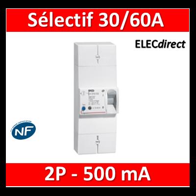 Legrand - Disjoncteur de branchement EDF 30/60A sélectif - 500mA - bipolaire - 401004