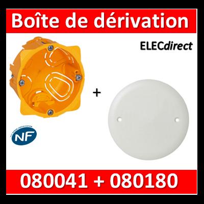 Legrand Batibox - Boîte encastrée prof. 40 + Couvercle universel D85mm = boîte de dérivation - 080041 + 080180