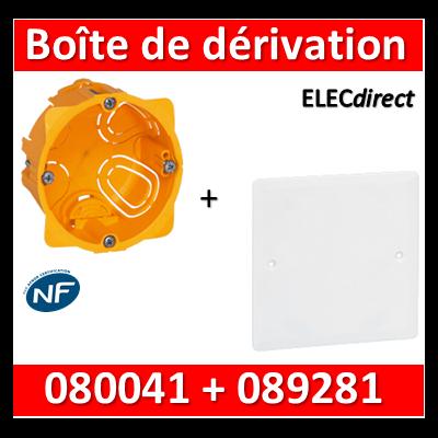 Legrand Batibox - Boîte encastrée prof. 40 + Couvercle universel 80 x 80 = boîte de dérivation - 080041 + 089281