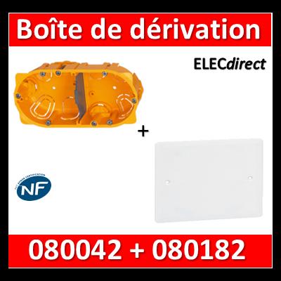 Legrand Batibox - Boîte double encastrée prof. 40 + Couvercle universel 155 x 85 = boîte de dérivation - 080042 + 080182