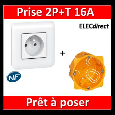 Legrand Mosaic - Prêt à poser - Prise 2P+T 16A complet + boîte batibox 1 poste