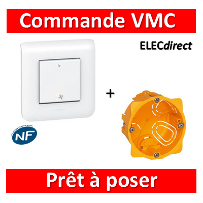 Legrand Mosaic - Prêt à poser - Commande VMC complet + boîte batibox 1 poste