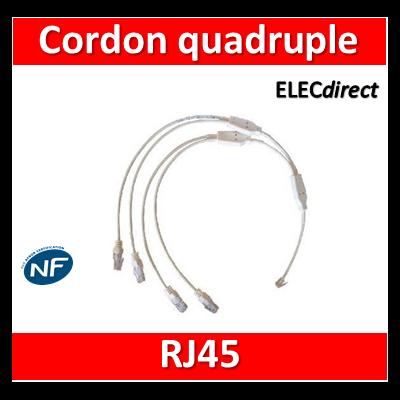 Legrand - Cordon quadruple téléphone RJ45 pour coffret avec brassage - 413204