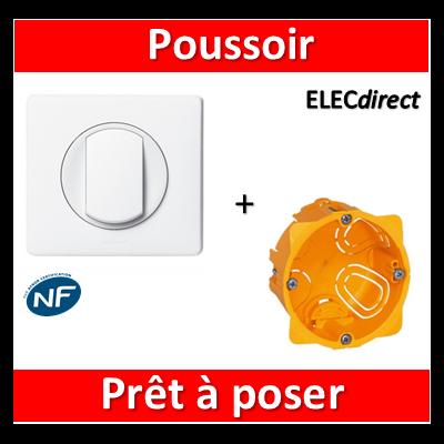 Legrand Céliane - Prêt à poser - Poussoir complet + boîte batibox 1 poste
