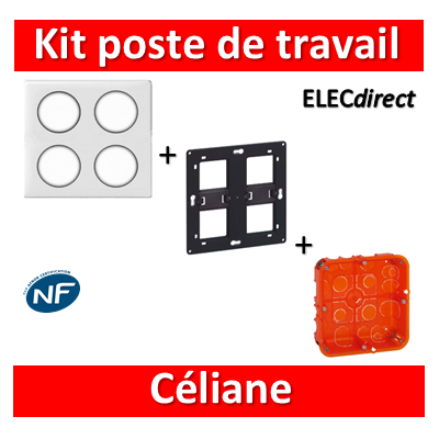 Legrand Céliane - Kit poste de travail complet 2 x 2 postes - Blanc
