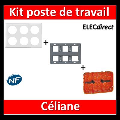 Legrand Céliane - Kit poste de travail complet 2 x 3 postes - Blanc