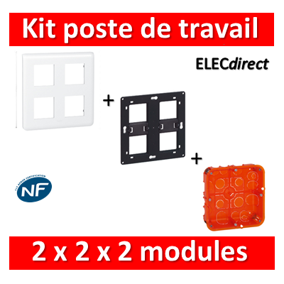 Legrand Mosaic - Kit poste de travail 2 x 2 x 2 modules - Blanc