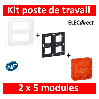 Legrand Mosaic - Kit poste de travail 2 x 5 modules - Blanc