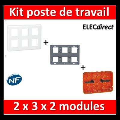 Legrand Mosaic - Kit poste de travail 2 x 3 x 2 modules - Blanc