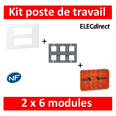 Legrand Mosaic - Kit poste de travail 2 x 6 modules - Blanc