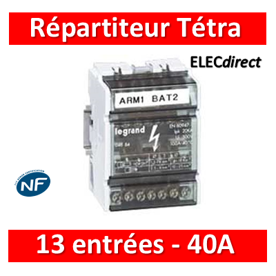 Legrand - Répartiteur Tetrapolaire 13 connexions - 6 modules - 40A - 004885