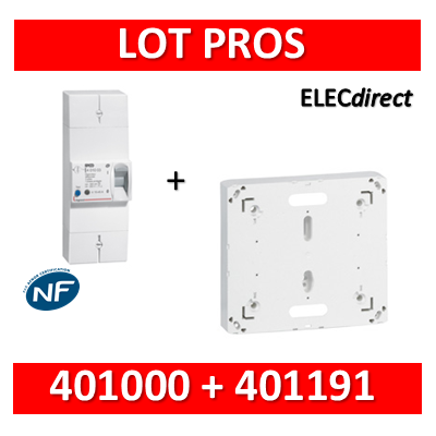 Legrand - Disjoncteur de branchement EDF 15/45A instantané + platine disjoncteur - 401000+401191